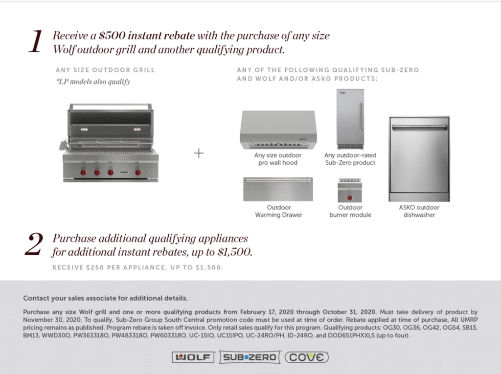 Wolf Outdoor Grill rebate | See and Touch Sub-Zero, Wolf, and Cove Appliances at Capital Distributing