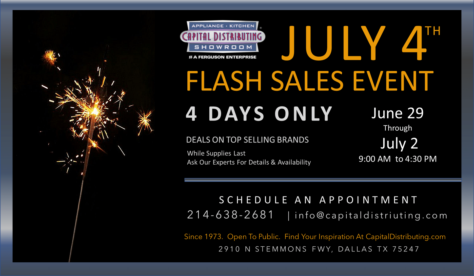 Capital Distributing July 4th Flash Sales Event