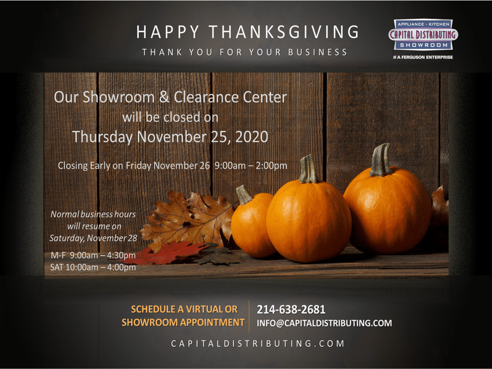 Capital Distributing Thanksgiving Hours 2020