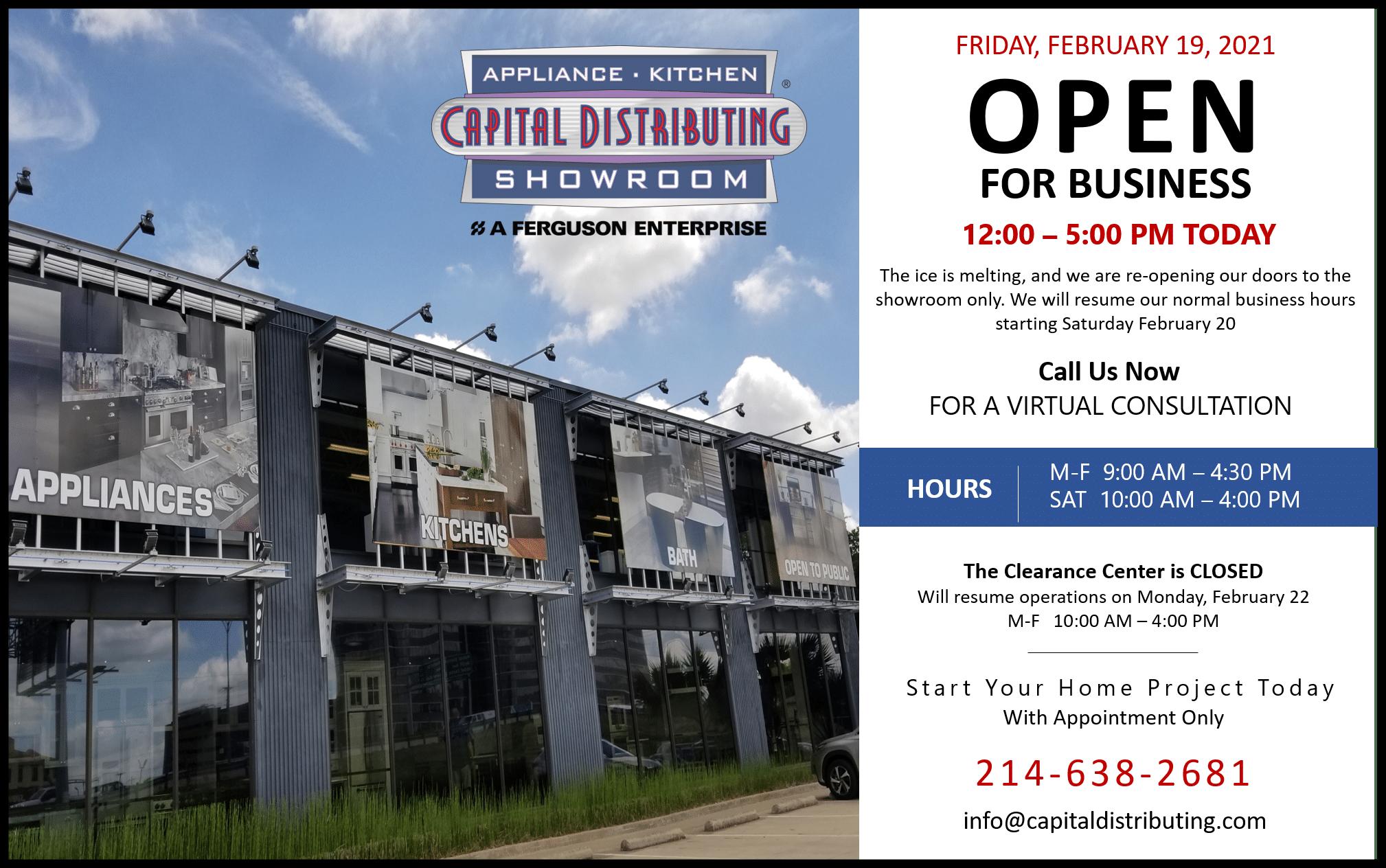 Weather Alert | Capital Distributing Showroom Open 12-5 Today!