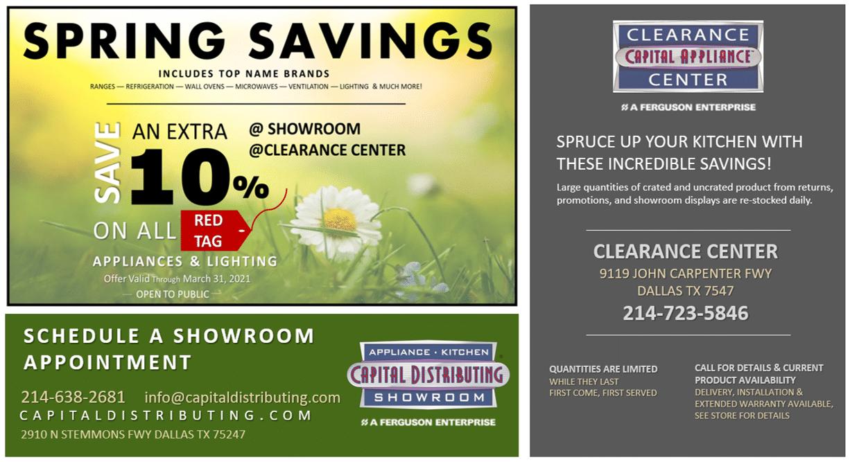 Save Extra 10% on selected appliances & lighting | Capital Distributing 214-638-2681