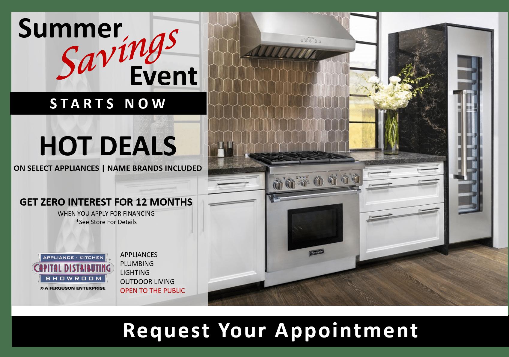 Summer Savings 2021 | Capital Distributing Kitchen Appliance Showroom